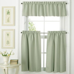 Facets Rod-Pocket Window Treatments, Green - It's amazing how simple curtains can elevate a kitchen space. I'd go for mint green treatments to keep things feeling light.