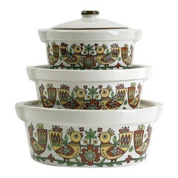 "Used Mid-Century Scandinavian Folk Art Casserole Set - This lovely set of vintage Scandinavian folk art covered casserole dishes is so retro and fun! Each off-white covered dish is decorated with Scandinavian folk art birds, flowers, and vines in fantastic vintage colors. Dishes are oven safe and very sturdy. As functional as they are fun!    Large dish measures 6.75"" in diameter, 4.5"" tall  Medium dish measures 5.75"" in diameter, 3.5"" tall  Small dish measures 4.75"" in diameter, 3.25"" tall"