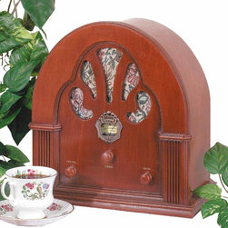 Renovators Supply - Radios Natural Oak Church Battery Operated Radio 12 1/2'' H | 19804 - Classic radio with the church window speakers. AM/FM radio with oak wood cabinet. Battery operated (not included). 12 in. wide x 12 1/2 in. high x 7 in. deep.