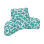 Majestic Home Goods - Teal Links Reading Pillow - Now you can kick back and relax anywhere, inside or out, with this comfortable and supportive Reading Pillow. The Majestic Home Goods indoor/outdoor teal links reading pillow provides back and head support that is perfect for many activities such as reading, working on your laptop or lounging with friends. Stuffed with a super loft recycled polyester fiber fill, the reading pillows zippered slipcover is woven from outdoor treated polyester and has up to 1000 hours of U.V. protection.  Spot clean slipcover with mild detergent and hang dry. Do not wash insert.