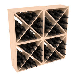 """Wine Racks America - 96 Bottle Wine Cube Collection in Ponderosa Pine, (Unstained) - Perfect for moderate storage requirements and converting that """"underneath"""" space into wine storage. Mix and match finishes to show your true wine-lover's spirit or experiment for a modern wine rack twist."""