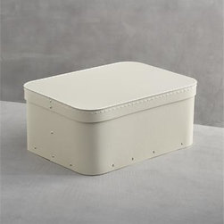 Bigso® Ivory Small Rectangular Storage Box - Cleanly crafted storage from Bigso of Sweden clears away the clutter. Recycled materials make these all-purpose covered boxes an earth-friendly solution for sorting, protecting and storing accessories, craft and office supplies, paperwork and more. Sturdy, stackable boxes in neutral ivory are detailed with reinforcing rivets and contrast stitching on the fitted lid for a simple statement in all-purpose home and office organization.