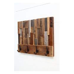 Reclaimed wood art coat rack 24x18.5x4 - There is no stain on this coat rack, these are the natural colors of the wood.