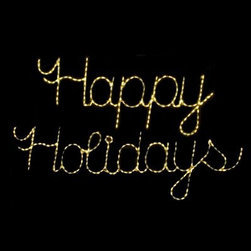 32 in. Outdoor LED Happy Holidays Sign Lighted Display - 335 Bulbs - About Brite IdeasEstablished in Omaha Neb. in 1990 Brite Ideas Decorating Inc. has become a holiday lighting industry leader providing customers across the United States with durable cutting edge lighting displays for both residential and commercial applications.Featuring a full line of innovative LED products and uniquely designed displays Brite Ideas appeals to traditional modern simple and even ornate tastes. It is their mission to promote excellence in the holiday lighting industry. With that in mind Brite Ideas products go above and beyond the standard to create the best holiday atmosphere for you.