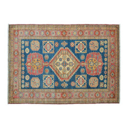 5'X7' Oriental Rug, Hand Knotted Navy Super Kazak 100% Wool Rug SH11317 - This collections consists of well known classical southwestern designs like Kazaks, Serapis, Herizs, Mamluks, Kilims, and Bokaras. These tribal motifs are very popular down in the South and especially out west.