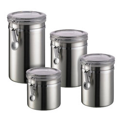 Brushed Stainless Steel Canisters - Stainless steel has been a favorite material in kitchen design for years now, so why not extend it to your pantry as well? I imagine this set of containers in a modern kitchen, keeping cooking essentials within easy reach.