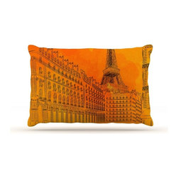 "Kess InHouse - Fotios Pavlopoulos ""Parisian Sunsets"" Orange City Fleece Dog Bed (30"" x 40"") - Pets deserve to be as comfortable as their humans! These dog beds not only give your pet the utmost comfort with their fleece cozy top but they match your house and decor! Kess Inhouse gives your pet some style by adding vivaciously artistic work onto their favorite place to lay, their bed! What's the best part? These are totally machine washable, just unzip the cover and throw it in the washing machine!"