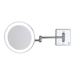 WS Bath Collections - Discolo LED 35-2 KK Magnifying Mirror 3x - Discolo LED by WS Bath Collections, Wall Mounted Magnifying, Lighted LED Mirror with 3x Magnification