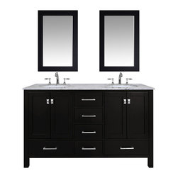 "60"" Malibu Espresso Double Sink Bathroom Vanity With 24"" Mirrors - An ideal complement to a contemporary decor, the 60"" Malibu Double Sink Vanity embodies the clean edges and sophistication of modern design. The rich espresso cabinet, made of solid oak lends a warm feeling to your bathroom that contrasts beautifully with the Carrara White Marble top. Sleek and simple stainless steel hardware dresses up the European soft-closing sliders and doors, which give you ample space to store your bathroom items."