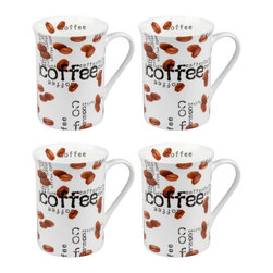 Konitz - Set of 4 Mugs Coffee Collage - Give your morning joe an extra jolt with the Coffee Collage collection. The cool, contemporary style of Coffee Collage Mugs consists of white porcelain sprinkled inside-and-out with photo-realistic coffee beans and black 'Coffee' lettering.