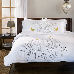 None - Swallow 3-piece Duvet Cover Set - Embroidered with a gorgeous minimalist design and made from 100-percent cotton,this cover set is both beautiful and durable. The Swallow duvet cover set will bring a charming and elegant look to your bedroom.
