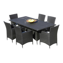 MangoHome - Outdoor Patio Wicker Furniture All Weather Resin 7-Pc Dining Table & Chair Set - Outdoor Patio Wicker Furniture All Weather Resin 7-Piece Dining Table & Chair Set New