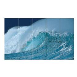 Picture-Tiles, LLC - Wave Picture Kitchen Bathroom Ceramic Tile Mural  36 x 60 - * Wave Picture Kitchen Bathroom Ceramic Tile Mural 2186