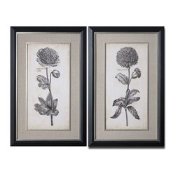 Uttermost - Uttermost Singular Beauty Floral Art Set of 2 41362 - Prints are accented by sandy gray linen mats. Frames have a black satin outer edge while the inner edges and fillets are silver leaf with light antiquing. Prints are under glass.