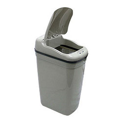 Nine Stars - Grey Plastic Motion Sensor 8.7-gallon Trash Can - Nine Stars trash can makes handling trash cleaner and easierHands-free trash can ideal for bathrooms and kitchensMotion sensor trash can features an automatic lid