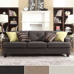 INSPIRE Q Elston Linen Tufted Sloped Track Sofa -