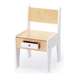 "Offi - Mini-Drawer Chair in White - The Mini-Drawer chair features a sleek, modern design that compliments your modern décor. The special storage drawer is and added feature that allows your little one to store their crayons and pencils. The Mini-Drawer chair is also compatible with the Play-a-Round activity table. Features: -Baltic Birch plywood construction -Built-in storage compartment -Perfectly sized for use with Play-a-Round activity table -White non-toxic painted finish -Dimensions: 20""H x 12""W x 13""D"