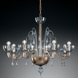 Vetrialmp 1200 collection, Murano chandelier for sale by Topdomus - Vetrilamp Murano glass artistic chandelier 1200/8