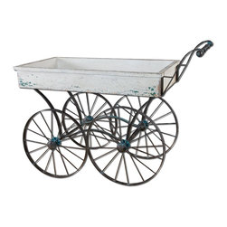Weathered Wood and Iron Flower Cart - *Forged iron wheel base and handle with traces of turquoise broken away to weathered black undertones and an antiqued white wooden cart box.