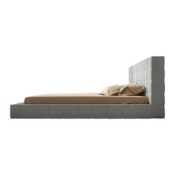 Modloft - Thompson Dove Gray Fabric Platform Bed, Queen - The chic and modern Thompson Bed features luxurious tweed fabric. The mattress sits snuggly atop a solid pine-slat base for strength and comfort. Mattress, linen and pillows not included.