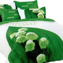 Dolce Mela - 6pc Floral Full/Queen Modern 100% Cotton Duvet Cover Bedding Set by Dophia DO87Q - A stripped neon-green design frames these lilies of the valley the most beautiful bell flower, on a white backdrop and reverse to solid green with tiny bell flowers.