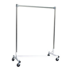 Z Racks - Heavy Duty Z-Rack 48 in. Garment Rack in Whit - Base Color: White/Off-White. 500lb capacity. 14 gauge, 48 in. Long steel base (Environmentally safe powder coated finish). 16 gauge, 60 in. upright bars and hang rail. 1 5/16 outside diameter upright bars and hang rail. Grey non-marking soft rubber with TP center 4 in. casters. Made in the USA. Assembly Required. 51 in. L x 23 in. W x 67 in. HThis Z-Rack can satisfy several household and business purposes, all while saving valuable floor space. And because it is industrial grade, with five foot uprights, you don�۪t have to worry about stability and control.