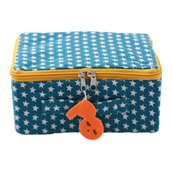 Star Fabric Suitcase, Turquoise With White Stars