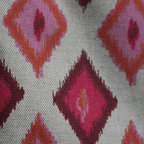 Pink + Orange Ikat Pillow Cover, 22x22 - Happy pink + orange ikat cotton blend pillow cover
