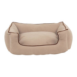 "Carolina Pet Company - Microfiber Low Profile Kuddle Lounge, Khaki, 30"" X 24"" X 10"" - Easy step in design makes this the perfect spot for your pet to curl up in.  Velvet microfiber bolsters wrap your pet in luxury and comfort.  Zippered cover removes easily for machine washing.  100% polyester outer cover with our high loft recycled polyester filled bolsters."