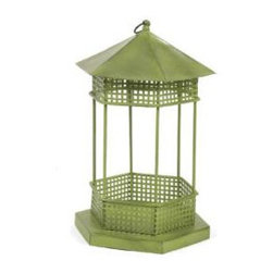 Gazebo Bird Feeder - This little iron feeder reminds me of the gazebo where bands give concerts in small towns. Shout out to Hoosick Falls, NY where they still give concerts on the square every Wednesday night during the summer!