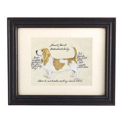 Ballard Designs - Basset Hound Dog Print - Hand colored & signed. Printed on parchment. Eggshell mat. Antique black frame. Our Basset Hound Dog Print was created by the dog-loving, husband and wife team of Vivienne and Sponge. The Basset Hound is known for being good-natured and lively. Each Basset Hound portrait is hand colored and embellished with notes on the breed's special characteristics. Printed on antiqued parchment, signed by the artists and framed in antique black wood with eggshell mat and glass front. Basset Hound Dog Print features: . . . . *Please note that personalized items are non-returnable.