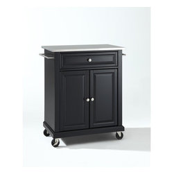 "Crosley - Kitchen Cart with Stainless Steel Top - This portable kitchen cart is designed for longevity. Panel doors and drawer front provide the ultimate in style to dress up your kitchen. The deep drawer is great for anything from utensils to storage containers. Behind the two doors, you will find an abundance of storage space for things that you prefer to be out of sight. The heavy duty casters provide the ultimate in mobility. When the cabinet is where you want it, simply engage the locking casters to prevent movement. Style, function, and quality make this portable kitchen cart a wise addition to your home. Features: -Portable kitchen cart/island.-Stainless steel top.-Two towel bars.-Beautiful raised panel doors.-Two locking casters for stability.-Distressed: No.-Product Type: Compact kitchen cart.-Counter Finish: Stainless steel.-Powder Coated Finish: No.-Gloss Finish: No.-Base Material: Hardwood and veneers.-Hardware Material: Steel.-Solid Wood Construction: No.-Exterior Shelves: No.-Drawers Included: Yes -Number of Drawers: 1.-Push Through Drawer: No.-Dovetail Joints: No.-Drawer Dividers: No.-Drawer Handle Design: Knob.-Silverware Tray : No..-Cabinets Included: Yes -Number of Cabinets : 1.-Double Sided Cabinet: No.-Number of Interior Shelves: 1.-Adjustable Interior Shelves: Yes.-Number of Doors: 2.-Magnetic Door Catches: Yes.-Locking Doors: No.-Door Handle Design: Knob..-Towel Rack: Yes -Removable Towel Rack: No..-Pot Rack: No.-Spice Rack: No.-Cutting Board: No.-Drop Leaf: No.-Drain Groove: No.-Trash Bin Compartment: No.-Stools Included: No.-Casters: Yes -Locking Casters: Yes.-Removable Casters: No..-Wine Rack: No.-Stemware Rack: No.-Cart Handles: No.-Finished Back: Yes.-Swatch Available: No.-Commercial Use: No.-Recycled Content: No.-Eco-Friendly: No.-Product Care: Use a soft clean cloth that will not scratch the surface when dusting. Use of furniture polish is not necessary. Should you choose to use a furniture polish, test in an inconspicuous area first. Use of solvents of any kind could damage your furniture's finish. To clean, simply use a soft cloth moistened with lukewarm water, then buff with a dry soft clean cloth..-Hardware Finish (Base Finish: Black): Brushed nickel.-Hardware Finish (Base Finish: Classic Cherry): Antique brass.-Hardware Finish (Base Finish: Vintage Mahogany): Antique brass.-Hardware Finish (Base Finish: White): Brushed nickel.Specifications: -ISTA 3A Certified: Yes.Dimensions: -Overall Product Weight: 82.2 lbs.-Overall Height - Top to Bottom: 36"".-Overall Width - Side to Side: 28.25"".-Overall Depth - Front to Back: 18"".-Height Without Casters: 32"".-Countertop Thickness: 1"".-Countertop Width - Side to Side: 28.25"".-Countertop Depth - Front to Back: 18"".-Shelving: -Shelf Width - Side to Side: 22.5"".-Shelf Depth - Front to Back: 16.5""..-Drawer: -Drawer Interior Height - Top to Bottom: 5.5"".-Drawer Interior Width - Side to Side: 22.5""..-Cabinet: -Cabinet Interior Height - Top to Bottom: 22"".-Cabinet Interior Width - Side to Side: 22.5"".-Cabinet Interior Depth - Front to Back: 16.5""..Assembly: -Assembly Required: Yes.-Tools Needed: Screwdriver (not included) and allen wrench (included).-Additional Parts Required: No.Warranty: -Product Warranty: 90 day limited warranty."