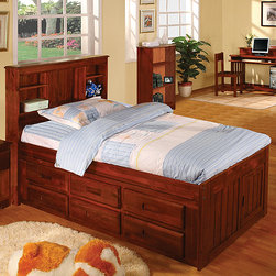 "Discovery World Furniture - Weston Captain's Bookcase Bed - Features: -Trundle and storage drawer configuration can be featured on either side of the captain's bed.-Complete slat kit makes bed mattress ready.-Bed features european roller glide drawers.-Bed features footboard storage door.-Solid pine construction.-Collection: Weston.-Distressed: No.-Powder Coated Finish: No.-Gloss Finish: Yes.-Non Toxic: Yes.-Scratch Resistant: No.-Joinery Type: Glued and doweled.-Mattress Included: No.-Fits Crib Mattress: No.-Recommended Mattress Height (Configuration: 3 Drawers + 1 Trundle Unit): Trundle 7"".-Mattress Profile Maximum (Configuration: 3 Drawers + 1 Trundle Unit): Trundle 7"".-Mattress Profile Minimum: No.-Box Spring Required: No.-Number of Slats Required: 11.-Number of Slats Included: 11.-Center Support Legs: No.-Bed Rails: Yes.-Recommended Age Range: 3+.-Also Suitable for Adults: Yes.-Upholstered: No.-Wood Moldings: No.-Canopy Frame: No.-Lighted Headboard: No.-Light Type: No.-Number of Shelves: 2.-Adjustable Shelves: Yes.-Number of Doors: 1.-Thickness of Mattress Accommodated by Trundle: 7"".-Guardrails: No.-Hidden Storage: No.-Jewelry Compartment: No.-Attached Nightstand: No.-Media Outlet Hole: No.-Built in Outlets: No.-Weight Capacity: 400 lbs.-Finished Back: Yes.-Commercial Use: No.-Eco-Friendly: Yes.Specifications: -Meets all ASTM and CPSC specifications.-CARB Compliant: Yes.-JPMA Certified: No.-General Conformity Certificate: Yes.Dimensions: -Overall Height - Top to Bottom (Size: Full): 48.5"".-Overall Height - Top to Bottom (Size: Twin): 49.25"".-Overall Width - Side to Side (Size: Full): 60"".-Overall Width - Side to Side (Size: Twin): 44"".-Overall Depth - Front to Back (Size: Full, Twin): 83"".-Headboard Height Top to Bottom (Size: Twin): 49.25"".-Headboard Height Top to Bottom (Size: Full): 48.5"".-Headboard Width Side to Side (Size: Twin): 44"".-Headboard Width Side to Side (Size: Full): 60"".-Headboard Depth Front to Back: 8"".-Footboard Height: 24"".-Footboard Width - Side to Side (Size: Twin): 42"".-Footboard Width - Side to Side (Size: Full): 57"".-Footboard Depth - Front to Back: 1"".-Shelf Height: 14"".-Shelf Width - Side to Side: 12.75"".-Shelf Depth - Front to Back: 7"".-Interior Drawer Height Top to Bottom: 4.75"".-Interior Drawer Width Side to Side: 18"".-Interior Drawer Depth Front to Back: 15"".-Trundle Height: 11"".-Trundle Width - Side to Side: 74"".-Trundle Depth - Front to Back: 40"".-Top of Headboard to Bedframe: 26"".-Bottom of Side Rail to Floor: 18"".-Side Rail Length: 75"".-Overall Product Weight (Configuration: 6 Drawers - 2 rows of 3): Twin 128 lbs, Full 167 lbs.-Overall Product Weight (Configuration: 3 Drawers + 1 Trundle Unit): Twin 150 lbs, Full 189 lbs.Assembly: -Assembly Required: Yes.-Tools Needed: Tool included.-Additional Parts Required: No.Warranty: -Discovery world furniture provides one year limited warranty."