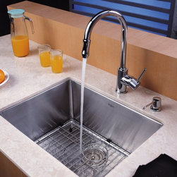 Kraus - Kraus KHU101-23-KPF1622-KSD30CH Single Basin Undermount Kitchen Sink with Faucet - Shop for Kitchen from Hayneedle.com! Bring elegant modern style and design into your kitchen with the Kraus KHU101-23-KPF1622-KSD30CH Single Basin Undermount Kitchen Sink with Faucet just a few clicks away. A twist of the single handle brings the faucet to life and spout even pulls down to double as a strong sprayer. This set is made from stainless steel to last against corrosion without a hitch.Product SpecificationsBowl Depth (inches): 10Weight (pounds): 24Low Lead Compliant: YesEco Friendly: YesMade in the USA: YesHandle Style: LeverValve Type: Ceramic DiscFlow Rate (GPM): 2.2Spout Height (inches): 8Spout Reach (inches): 7About KrausWhen you shop Kraus you'll find a unique selection of designer pieces including vessel sinks and faucet combinations. Kraus incorporates its distinguished style with superior functionality and affordability while maintaining highest standards of quality in its vast product line. The designers at Kraus are continuously researching and exploring broader markets seeking new trends and styles. Additionally durability and reliability are vital components at Kraus for developing high-quality fixtures. Every model undergoes rigorous testing and inspection prior to distribution with customer satisfaction in mind. Step into the Kraus world of plumbing perfection. With supreme quality and unique designs you will reinvent how you see your bathroom decor. Let your imagination become reality!