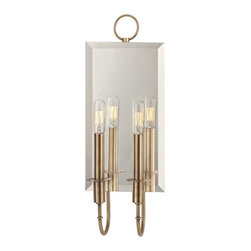Hudson Valley Lighting - Hudson Valley Essex I-2 Light Wall Sconce in Aged Brass - Hudson Valley Lighting's Essex's I-2 Light Wall Sconce shown in Aged Brass. Romance shines in this glowing duet. We amplify the effect of Essex's paired candlesticks with a beveled-edge, mirror backplate. Not only does the mirror double the sconce's glow, it adds depth to tight spaces, such as entry foyers and hallways. Essex's decorative fixture loop accentuates the curves of the slender arms and bobeches, bolstering the design's timeless appeal.