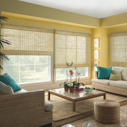 Levolor Natural Classic Roman Style Woven Wood Shades - Pictured in Classic Natural.