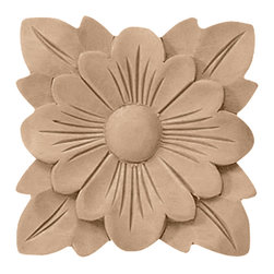 "Ekena Millwork - 3 1/2""W x 3 1/2""H x 1/2""P Springtime Rosette, Rubberwood - 3 1/2""W x 3 1/2""H x 1/2""P Springtime Rosette, Rubberwood. Our rosettes are the perfect accent pieces to cabinetry, furniture, fireplace mantels, ceilings, and more. Each pattern is carefully crafted after traditional and historical designs. Each piece comes factory primed and ready for your paint. They can install simply with traditional adhesives and finishing nails."