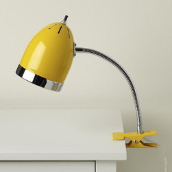 Yellow Clip It Lamp - This clip-on desk lamp is the perfect shade of yellow.