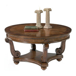 Liberty Furniture - Victorian Manor Cocktail Table - Round shape. Bottom shelf provides extra storage. S-shaped curved legs. 8-way veneer matched tops and mahogany borders. Bun feet. Warranty: One year. Made from cherry veneers and crotched mahogany. Multi-step hand applied dark classic cherry finish. Minimal assembly required. 40 in. Dia. x 21 in. H (78 lbs.)