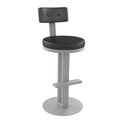 """Amisco - Empire Swivel Stool, 30"""" Bar Height Seat - The Empire Swivel Stool in black vinyl cushion with silver powder-coated metal finish. Built to last with a 10 year Manufacturers warranty, your good to go with this stylish bar stool in your new kitchen or bar room decor."""