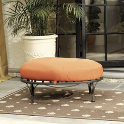 Corsica Ottoman with Self Piped Cushion - This cute ottoman is covered with fabric that makes it ideal for outdoor use.  It will give you extra seating for parties or just a place to prop those tired feet at the end of the day.