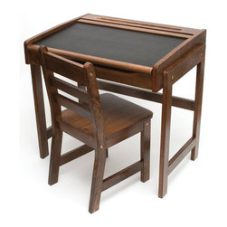 Lipper International Child's Desk With Chalkboard Top and Chair Set - Add a touch of old school chic with this vintage-style desk. It would be perfect in a child's room or even off to the side in a nook or playroom.