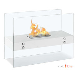 Moda Flame - Moda Flame Avila Contemporary Indoor Outdoor Ethanol Fireplace in White - Add warmth, charm and ambiance with GF201500W Avila Contemporary Indoor Outdoor Ethanol Fireplace in White by Moda Flame The Avila modern fireplace is comprised of a steel shelf, sitting comfortably on two vertically mounted glass walls. This elegant model is perfect for any indoor or outdoor setting. Fireplace (1)