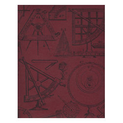 Kathy Kuo Home - Industrial Scientific Newton Wallpaper - Red - Wear your brain on your sleeve — and celebrate it on your walls. This coated paper, based on the measuring implements of physicist and mathematician Sir Isaac Newton, is ideal for a teen's room, home office or anywhere you get your best thinking done.