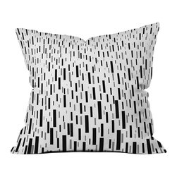 DENY Designs - DENY Designs Lisa Argyropoulos Terrential Throw Pillow - It's Raining Rectangles. It's time to pattern things up! The Lisa Argyropoulos Terrential Throw Pillow from DENY Designs is the perfect way to give your home some pop. Made from woven polyester, it features a fresh white background with cascading rectangles in black and gray. Let it make a minimally modern statement in your contemporary space, or pair it with bold hues for some fresh contrast.Artist: Lisa ArgyropoulosA portion of proceeds go directly to the artistsConcealed zipper with bun insertMade in the USA