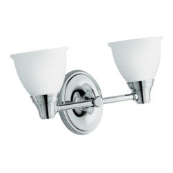 "KOHLER - KOHLER K-11366-CP Transitional Double Wall Sconce for Forte Faucet Line in Chrom - KOHLER K-11366-CP Transitional Double Wall Sconce for Forte Faucet Line in ChromeWith clean, simple lines, Forte(R) accessories provide creative options for bath and powder rooms. This UL and CUL approved Traditional double light sconce, offered in a compelling array of scratch- and corrosion-resistant Vibrant(R) PVD color finishes, coordinates seamlessly with Forte faucets.KOHLER K-11366-CP Transitional Double Wall Sconce for Forte Faucet Line in Chrome, Features:• 15-7/16""W x 6-7/16""D x 8-3/4""H"