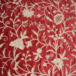Crewel Fabric World by MDS - Crewel Fabric Tree of Life Neutrals on Red Cotton Velvet- Yardage - Inspiration:Tree of Life is a pattern inspired by the flowers of kashmir.This Crewel Fabric representing the flowers in a garden is a delicate balance of real flowers and an artists imagination.History: Tree of Life was added to our collection to provide the joy of the flower into our homes.Use:Tree of Life is for you if you want a beautiful Crewel Fabric to make your home stylish and elegant. Suitable for Upholstery and Drapery. It Enriches our Living by bringing a bright Jacobean Floral Crewel into our homes.