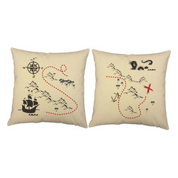 RoomCraft - Treasure Map Throw Pillow Covers 16x16 Natural Cotton Shams - FEATURES: