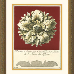 Amanti Art - Rosone Antico II Framed Print by Guerra - With his series of antique rosettes artist Guerra brings out the fine craftsmanship with the burst of color. Tie your room together with the purchase of more items from this same set.