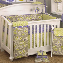 Cotton Tale Designs - Periwinkle Bumper - A quality baby bedding set is essential in making your nursery warm and inviting. All Cotton Tale patterns are made using the finest quality materials and are uniquely designed to create an elegant and sophisticated nursery. The Periwinkle bumper is 100% cotton. It is a four sectional bumper combination of contemporary floral and lattice with periwinkle and green dot trim on cord ties. This pattern is a perfect finish for cribs of any color. Wash gentle cycle, cold water, separately. Tumble dry low or hang dry. Perfect for a little girls nursery.